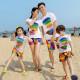 Set áo gia đình đi biển Cầu vòng đôi dép