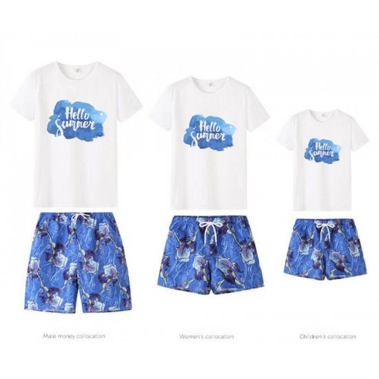 Set áo gia đình đi biển Hello Summer Mây xanh