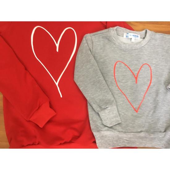 Set áo gia đình thu đông Sweatshirt Vẽ trái tim