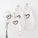Đồng phục gia đình mùa đông Hoodie họa tiết trái tim trắng Mofi